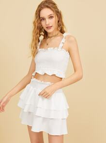Shirred Cami Top With Layer Ruffle Skirt
