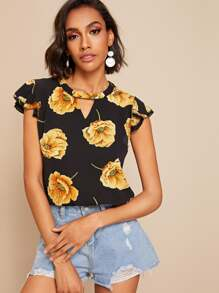 V-cut Neck Floral Print Layer Cuff Blouse