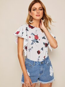 Floral Print Butterfly Sleeve Blouse