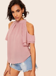 Cold-shoulder Layer Cuff Pleated Blouse