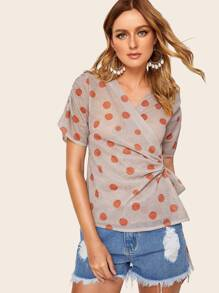 Polka Dot Glitter Knot Side Wrap Blouse