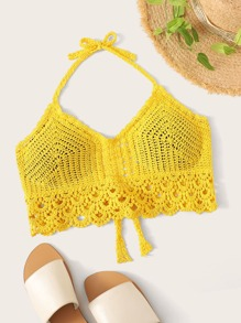 Crochet Tie Back Halter Top