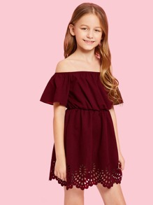 Girls Laser Cut Hem Solid Dress
