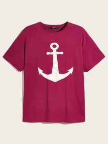 Men Inside Print Anchor Tee