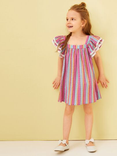 2fd261e9ba45 Toddler Girls Ruffle Shoulder Pompom Trim Rainbow Striped Dress