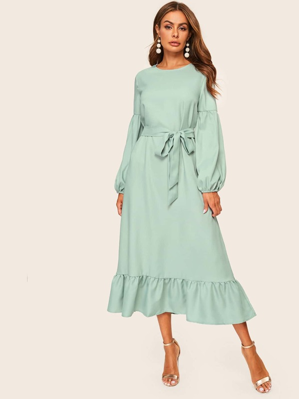 86a4469b37 Shoptagr | Ruffle Hem Lantern Sleeve Belted Hijab Dress by Shein