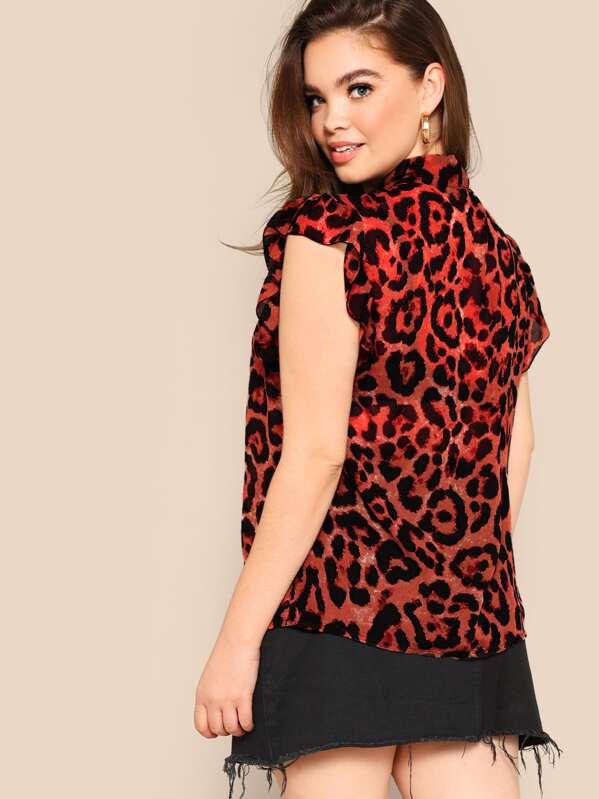 a0a01d6347 Plus Tie-neck Leopard Ruffle Trim Blouse