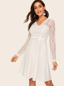 50s Bow Detail Lace Overlay Dress