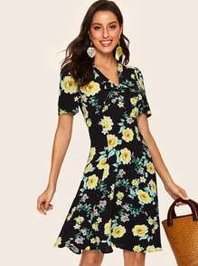 40s Floral Print Knot Front Dress