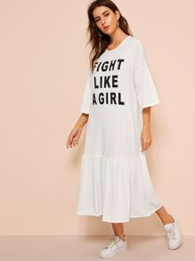 Slogan Print Drop Shoulder T-Shirt Dress