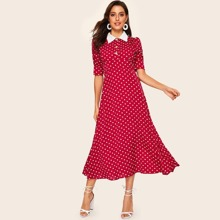 Contrast Collar Puff Sleeve Polka Dot Print Dress