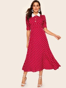 Contrast Collar Puff Sleeve Polka Dot Print Dress
