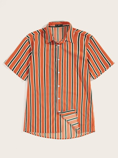 Men Button Up Striped Shirt