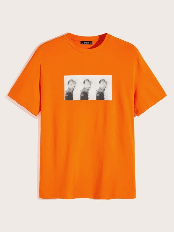 44dd4fec8 Camiseta de hombres con estampado de figura naranja neón