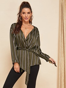 Waist Belted Striped Top