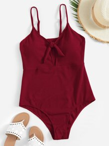 Plus Ribbed Knot Front One Piece Swimwear