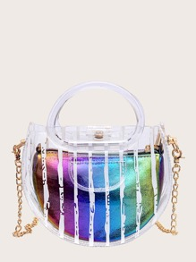 Satchel Bag With Rainbow Inner Clutch