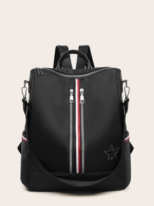 Striped Detail Square Shaped Backpack
