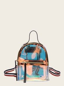 Clear Backpack With Striped Strap