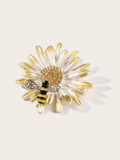 Bee & Chrysanthemum Shaped Brooch 1pc