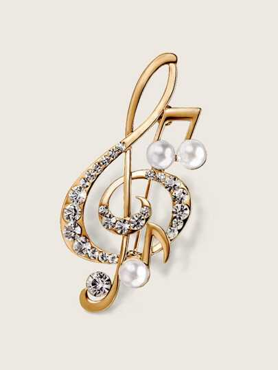 Rhinestone Decor Music Note Shaped Brooch 1pc