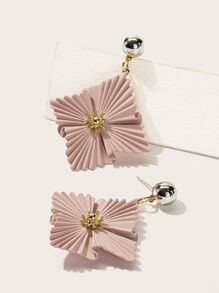Flower Decor Square Shaped Drop Earrings 1pair