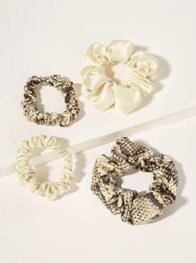 Snakeskin & Plain Hair Scrunchies 4pack