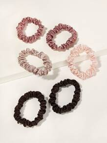 Plain Hair Scrunchies 6pack