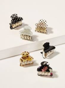 Glitter & Polka Dot Pattern Hair Claw 6pack