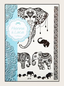 Elephant Shaped Tattoo Sticker 1sheet
