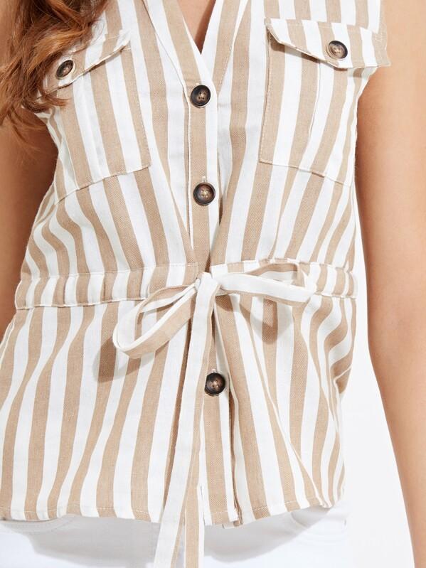 36417f7e204178 Button Front Striped Sleeveless Top | SHEIN UK