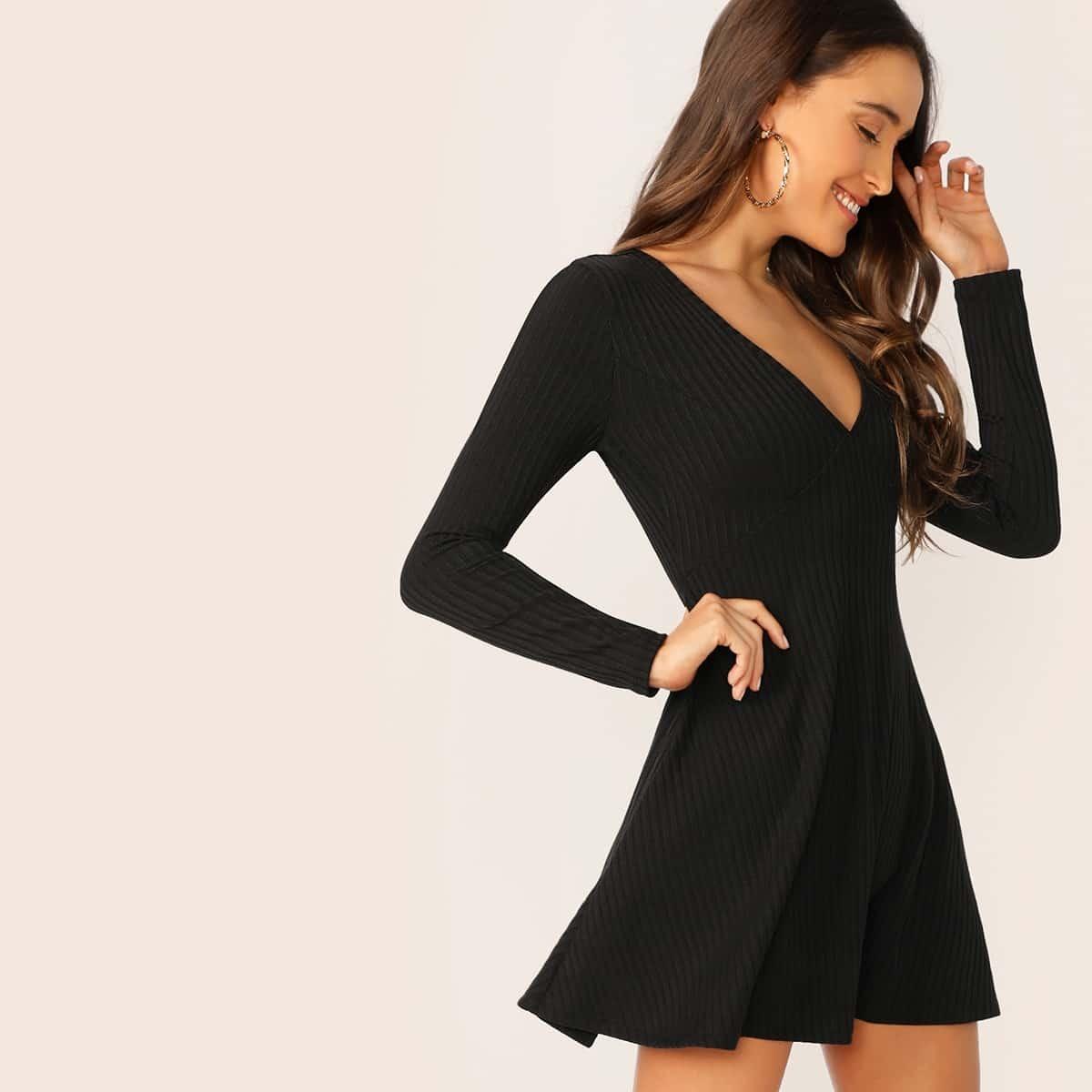 SHEIN coupon: V-Neck Rib-knit Dress