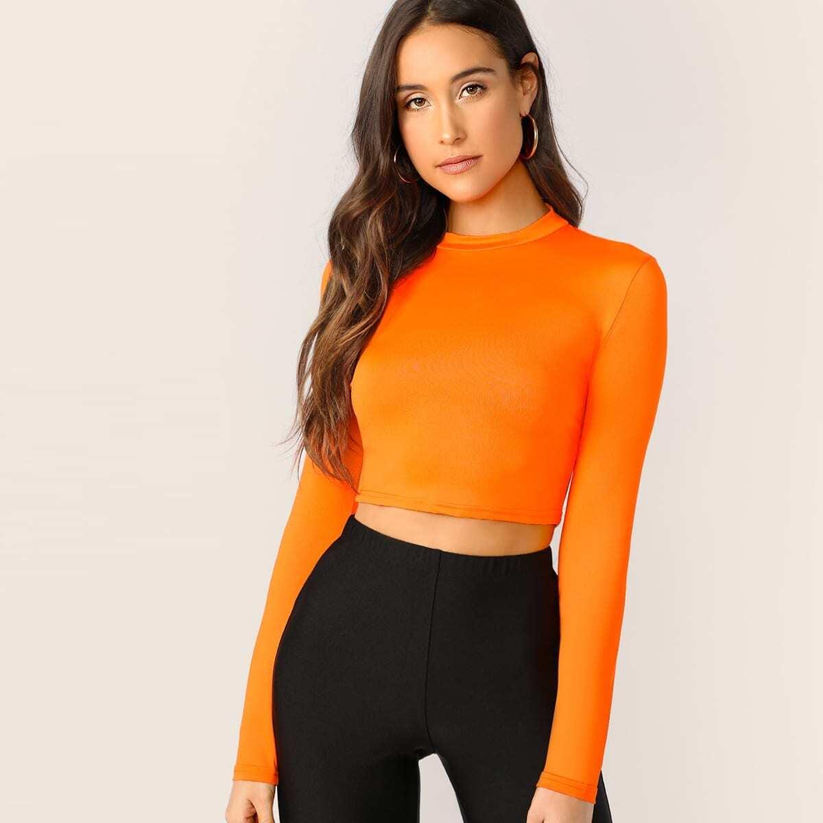 Oranje Casual Vlak T-shirts