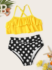 Girls Tiered Layer Top With Polka Dot Ruched Bikini