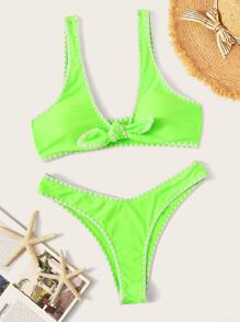 Neon Lime Knot Front Top With Contrast Trim Bikini