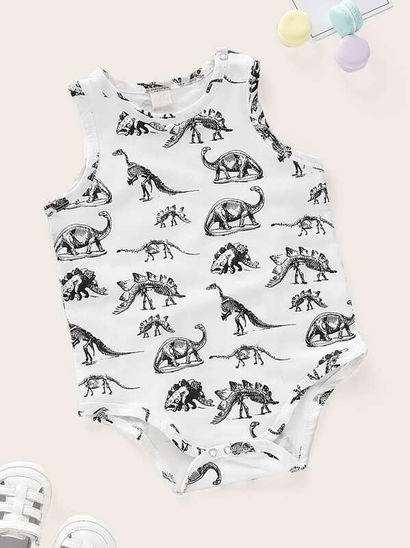 373000da8 Baby Dinosaur Print Popper Tank Romper | SHEIN