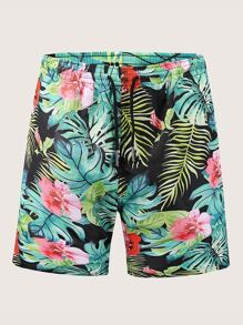 Men Tropical & Floral Print Drawstring Bermuda Shorts