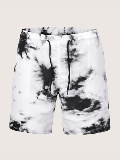 Men Tie Dye Drawstring Bermuda Shorts