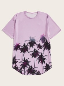 Men Coconut Trees Curved Hem Tee