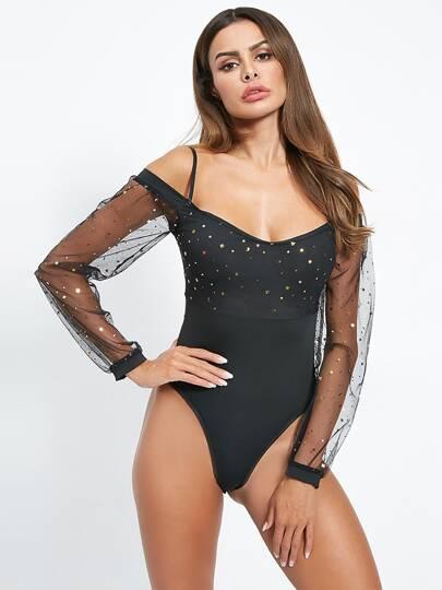 097425675412 Sequin & Mesh Bodysuits | Bodysuit Tops | SHEIN IN
