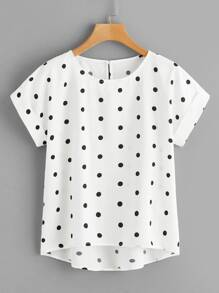 Plus Polka Dot Dip Hem Blouse