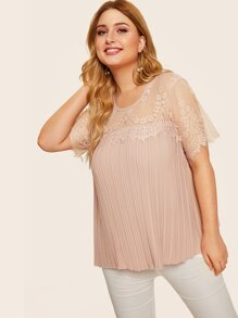 Plus Contrast Lace Pleated Blouse