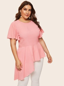 Plus Butterfly Sleeve Asymmetrical Hem Blouse