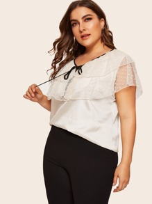 Plus Tie Neck Contrast Mesh Blouse