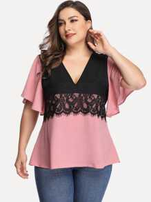 Plus Contrast Lace Two Tone Blouse