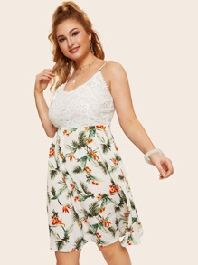 Plus Contrast Lace Floral Print Cami Dress