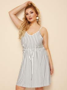 Plus Striped Self Tie Cami Dress