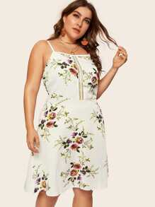 Plus Floral Print Cut Out Cami Dress