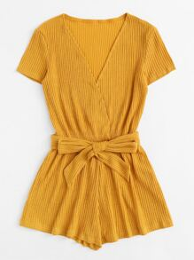 Plus Surplice Front Ribbed Belted Romper