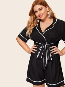 Plus Contrast Binding Knot Romper